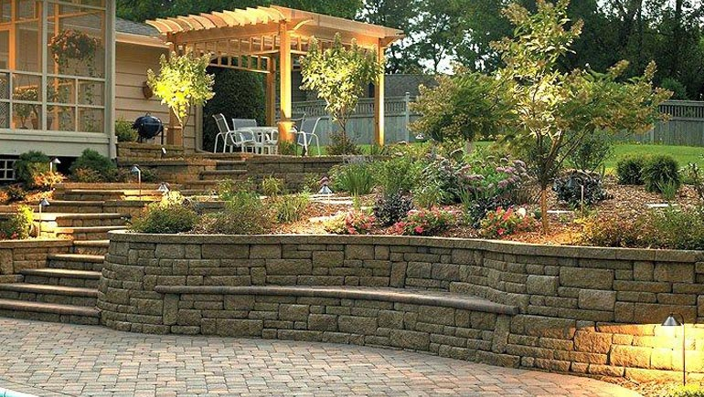 Custom built retaining wall at a residential property in West Des Moines, IA.