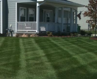 This West Des Moines homeowner has had their front yard receive a lime/gypsum treatment.