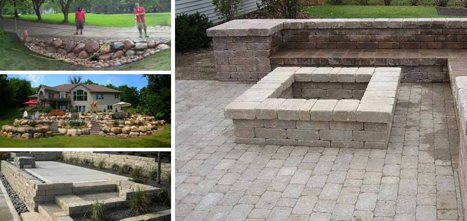 Perfect examples of some of the retaining walls and seating walls A+ Lawn & Landscape has built in West Des Moines.