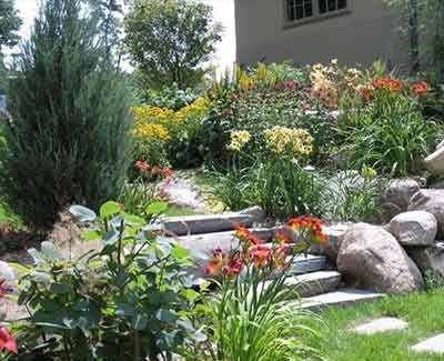 Des Moines landscape beds with lush plants benefiting from organic products used by A+ Lawn & Landscape.