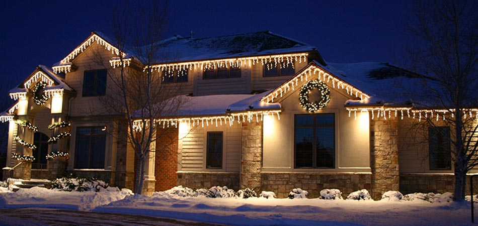 A home in Ankeny with Christmas lights installed by our team.