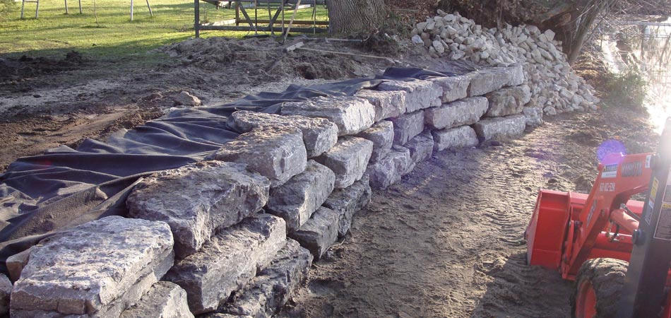 New rock retaining wall constructed at a home in Windsor Heights, Iowa