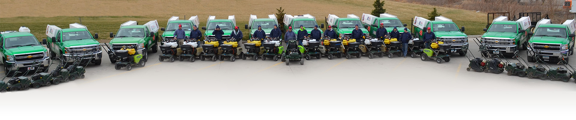 Some of our team and lawn care equipment.